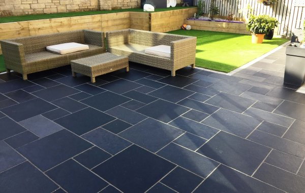 Dark Limestone, Sleepers & Artificial Grass in Cowdenbeath