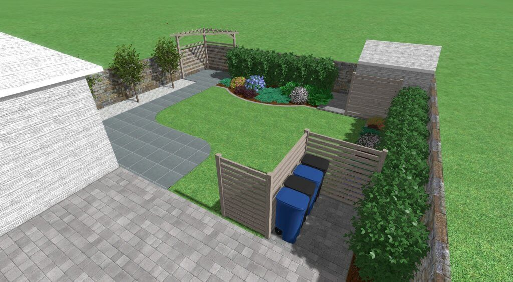 Computer 3D image of garden design