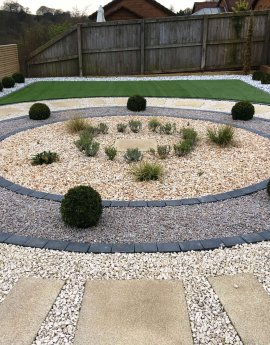 Artificial Grass, Glass Balustrade, Mediterranean Style Garden in Leslie