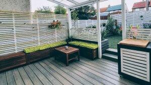 composite decking in modern garden