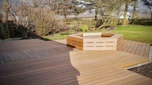 wooden composite decking in garden