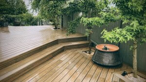 composite decking with stairs in garden