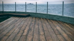 composite decking in front of water