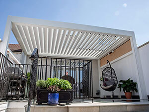 white canopy outside house