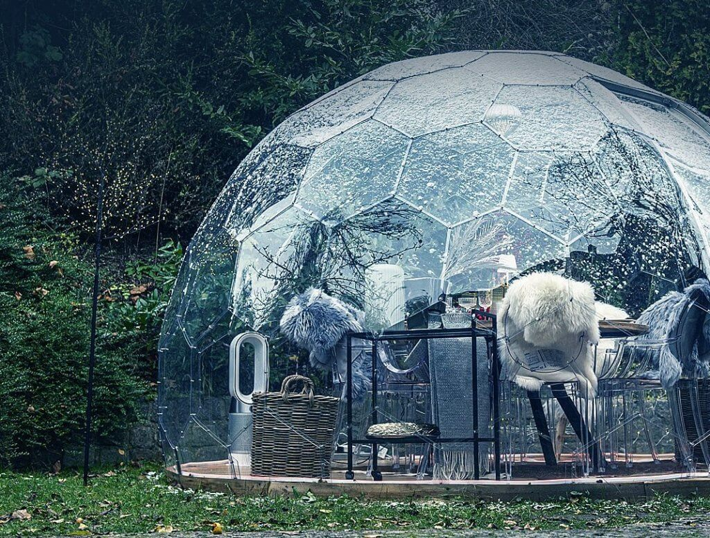 Hyperdome, outside in cold weather