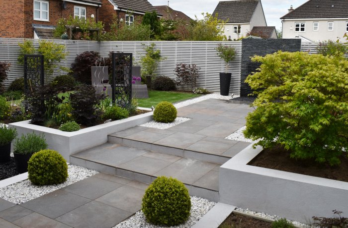 Contemporary Garden Redesign With Porcelain Paving & Water Wall In Dunfermline