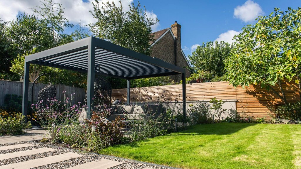 Landscaping with path and canopie