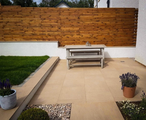 Garden seating area with bench