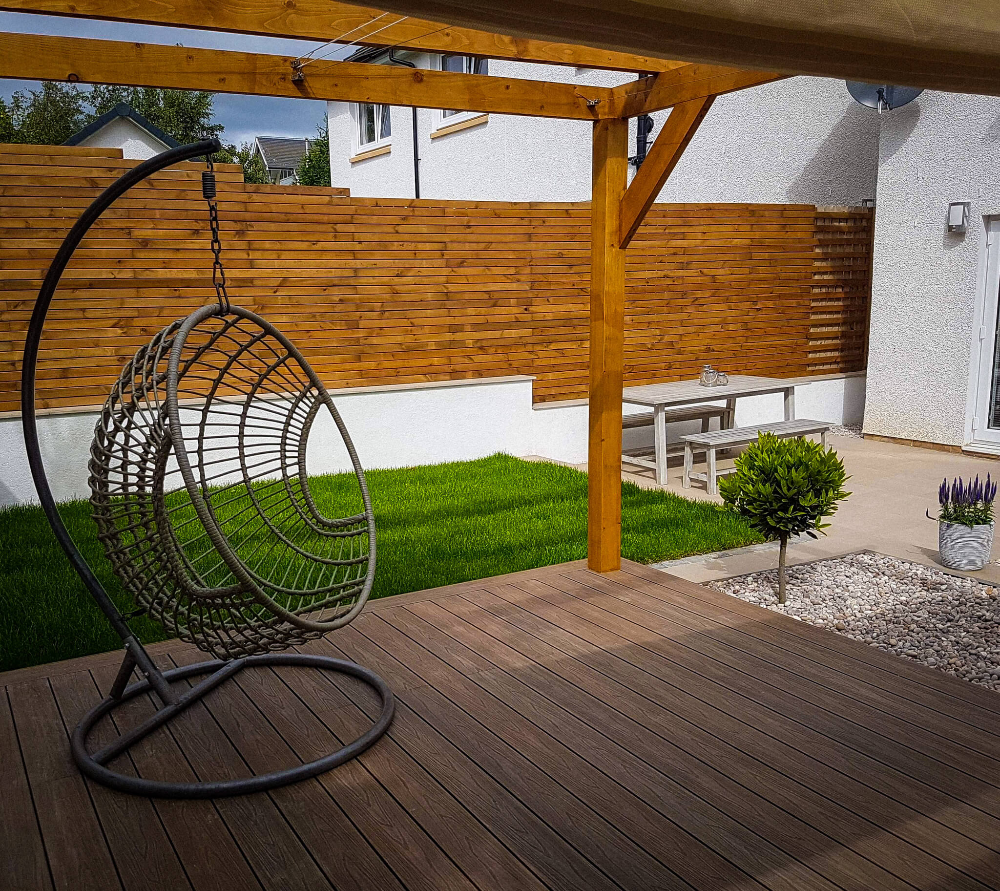 Wooden pergola with roof, seat